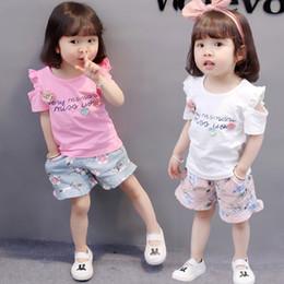 Wholesale Little Girls Purple Tutus - summer baby girl clothing sets fashion children cotton Three little flower girls clothes leisure sport suits set