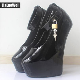 pointed ballet pumps 2018 - NEW 2018 20cm High Heels Women Exotic Fetish Wedges Ballet Boots Patent Leather Padlocks Pointed toe Party Pumps Woman Platform Shoes