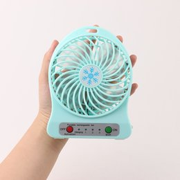 Wholesale Light Fan Colors - Rechargeable mini USB fan cooling fan Multifunctional Adjustable 3 Speed With Retail Pacakge with LED light 5 colors