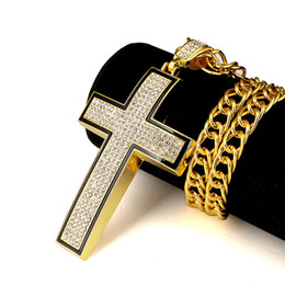 Wholesale Lords Prayer Necklace Gold - Men Women Bling Church Hip Hop Jewelry Gift 18K Gold Plated Jesus Crossing Pendants Necklaces Bible Lord Prayer Rhinestone Chain