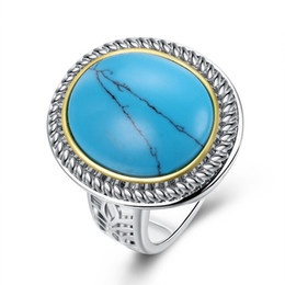 Wholesale turquoise jewelry men ring - Fashion Platinum Plated Turquoise gemstone Round Solitaire Ring Vintage charm flat Ring for man woman Party jewelry R024
