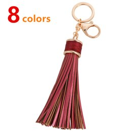 Wholesale Leather Keychains For Men - DHL Free Shipping Fancy Quality Fashion Ornaments Tassel Keychain Multiple Colors Leather Decoration Keychains For Wholesale