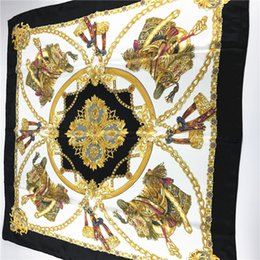 Wholesale Square Floral Scarves Wholesale - Square Silk Scarf Printed For Ladies Satin Silk Scarf Wraps Women Brand Polyester Scarves 90*90cm
