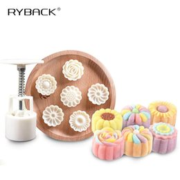Wholesale Cookies Press - 7PCS Set 3D Moon Cake Mold 1 Hand Press with 6 Flower Shape 50g Mid Autumn Arch Moon Cake Moulds Bread Cookies Maker