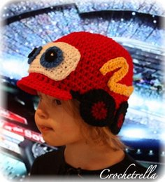 Wholesale Wholesale Crochet Car Hats - Crochet Pattern Car Hat Children Newborn Infant Toddler Knitted Hat Autumn Winter Boys Girls Kids Beanie Hallowmas Christmas Cap 100% Cotton