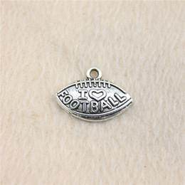 Wholesale I Love Football - Wholesale- 25pcs 15*21mm vintage antique silver tone I love football charms