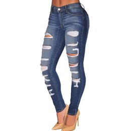 Wholesale torn women jeans - sale real women l m xl long skinny low european women's fashion classic stand tight blue jeans 78648 unique tear hole feet ripped