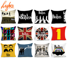Wholesale Beatles Pillows - The Beatles Polyester Cushion Cover Beatlemania British Rock Band Home Decorative Pillows Cover for Sofa Car Cheap Cushion