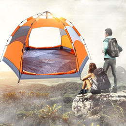 Wholesale Tents Rain - Camping Tent 3-5 People 2 Layers Hand Build Up Or Auto Open Tent Portable 6 Angles Rain Proof Outdoor Camping Hiking Travel Tents