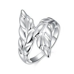 Wholesale 925 Silver Feather Ring - Free shipping Wholesale 925 Sterling Silver Plated Fashion Feather ring Jewelry LKNSPCR119-8