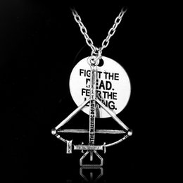 Wholesale Death Pendants - Hot movie The Walking Dead necklace Alloy Fighting the death Fear the living pendant jewelry with chain jewelry