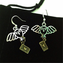 Wholesale Silver Envelopes - 10pairs lot Hp Hogwarts letters Earrings owl envelope earrings