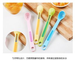 Wholesale Plastic Spoon Fork Set - 2pcs set Creative Kitchen Long Handle Leaf Spoon Two - in - one Candy Color Spoon Fork Combination Set portable tool WYQ
