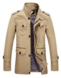 Wholesale Trench Coat Zipper Men - Brand Trench Coat Men Jacket Windbreaker Autumn Overcoat Outwear Spring Winter Jackets For Men 3 Colors