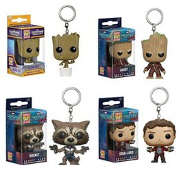 Wholesale Bobble Heads Funko - 2017 New Funko Pop War Guardians of the Galaxy Dancing Groot Bobble Head Keychain Super Natural Join the Hunt Dean Castiel Pocket Pop Toy