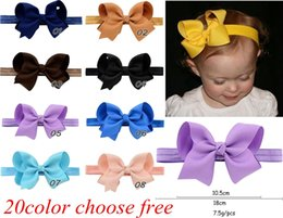 Wholesale Girls 4inch Bows Headband - Infant Girls Bow Headbands 4Inch Grosgrain Ribbon Boutique Bows Headbands Girls Elastic Hairbands Hair Accessories Baby Bow Headwear 20color