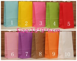 Wholesale Wholesale Self Adhesive Paper Bags - Wholesale-New style Stand up Kraft Paper Bags size 18x9x6cm Kraft &White Favor Bag Self Adhesive Seal Gift Packing Bags, Treat Bag, 50pcs