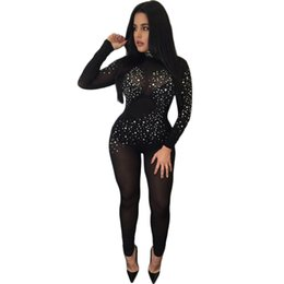 Wholesale Womens Long Sleeve Romper - Wholesale- New Autumn Sexy Black Mesh Diamomds Rompers Womens Jumpsuit Long Sleeve Turtleneck Bodycon Jumpsuit Back Zip See Through Romper