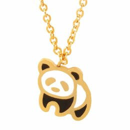 Wholesale Panda Pendant White Gold - Wholesale 10Pcs lot 2017 New Promotion Stainless Steel Jewelry Pendant Cute Chinese Giant Panda Gold Chains Choker Necklaces For Women