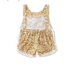 Bébé fille bébé dentelle broderie chiffon style chaud été pompon combinaisons sans manches des filles B4521 ? partir de fabricateur