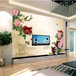Carta da parati d'uva vintage online-Fiore in stile cinese e pittura di peonia fiore Arte personalizzata foto impermeabile vintage Murale 3d wallpaper camera da letto ufficio