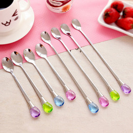 Wholesale Wholesale Korean Ice Cream - Wholesale- 1Pc Korean Style Stainless Steel Long-handled Spoon Creative Water Drop Ice Cream Spoon Stirring Coffee Spoon A45