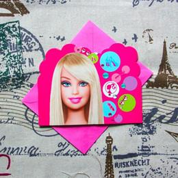 décoration barbie Promotion Gros-Le thème de Barbie carte d'invitation pour la décoration de fête d'anniversaire fournitures de mariage carte d'invitation 12pcs cartes et 12pcs enveloppes