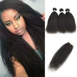 Yüksek Kaliteli 9A Remy Saç Kapatma ile 3 Demetleri Yaki Düz Ham bakire Hint Saç Afro Kinky Kıvırcık Işlenmemiş Insan Saç Uzantıları cheap unprocessed afro kinky virgin hair extensions nereden işlenmemiş afro kinky bakire saç uzantıları tedarikçiler