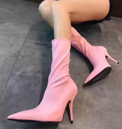 Wholesale Vintage Pointed Toe High Heels - vintage fashion women spandex boots extremely pointed toe high heels spring women shoes street fashion socks ankle boots fashion runway