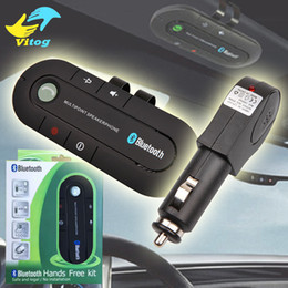 Wholesale Car Player Transmitter - Sun Visor Bluetooth Speakerphone MP3 Music Player Wireless Bluetooth Transmitter Handsfree Car Kit Bluetooth Receiver Speaker Car Charger