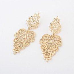 Canada Bohême européenne Dame élégante Big Hollow Magnificent Earrings Dangle or Silver Wedding Boucles d'oreilles Wedding Boucles d'oreilles femmes Earing Stud boucles d'oreilles supplier elegant big wedding earrings Offre