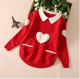 Wholesale Purple Heart Clothes - Christmas Children sweater girls Heart embroidery pullovers Autumn kids long sleeve lapel knitting sweater girls fashion clothes C1310