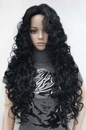 Wholesale Long Black Wig Thick - New super hot fashion sexy charming jet black long curly woman's full thick wig free shipping