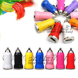 Wholesale Iphone Charging Eu - For Iphone6 USB Car Charger Colorful Bullet Mini Car Charge Portable Charger Universal Adapter For Iphone 5 5S 200 Pieces DHL Free Shipping