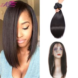 Wholesale Hair Mongolia - Hot Sale Straight 360 Lace Frontal With 3Bundles Mongolia Virgin Human Hair 3 Bundles with Frontal For Black Girl