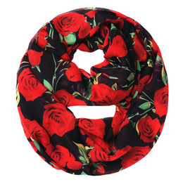 Wholesale Flower Infinity Scarf - Wholesale- [Ode To Joy]Women's fashion scarf large size rose flower print scarves chiffon Infinity Scarf Loop foulard scarves gift item