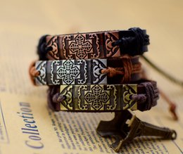 Wholesale Wholesale Jewelry Supplies Cross Charms - Supply Cool New Genuine Leather Bracelet Jewelry Bangle Cross the Crusade for Wrist free shipping