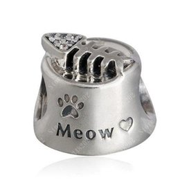 Wholesale silver 925 bone charm - Fits Pandora Bracelets Cat Bowl Charm Beads Original 925 Sterling Silver Clear CZ Fish Bone Meow Bead Diy 2016 Summer Fine Jewelry HB334