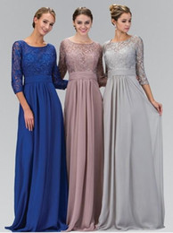 Wholesale Scoop Line Formal Dress - 2017 A line Silver Gray Modest Chiffon Lace Bridesmaids Dresses Long With 3 4 Sleeves Formal Floor Length Wedding Party Dresses
