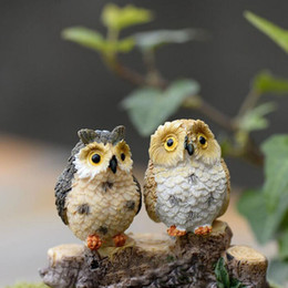 Wholesale Plastic Toy Birds - Micro Mini Fairy Garden Miniatures Figurines Resin Owl Birds Animal Figure Toys Home Decoration Ornament Free Shipping ZA3901