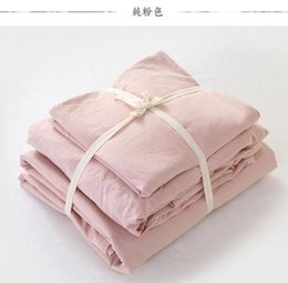Wholesale Hotel Quilt Cover - Hot light pink 100% water washed cotton home hotel mattress fitted sheet style comforter duvet quilt cover bedding set home textiles  3814