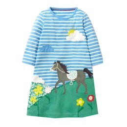 Wholesale Soft Dress Girls Kids - Girls Unicorn Appliqued Princess Dress Kids Casual Longsleeve Cartoon Dresses Breathable Soft A-line Party Dress for Kids Clothes