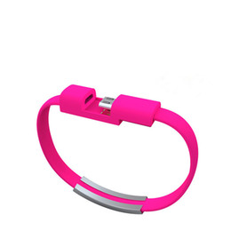 Wholesale Pink Silicone Usbs - Wrist Bracelet Micro Usb Data Cables 22cm Phone Charger Wire Silicone Short Wristband style Data Cord For Samsung S7 S6 edge HTC Android