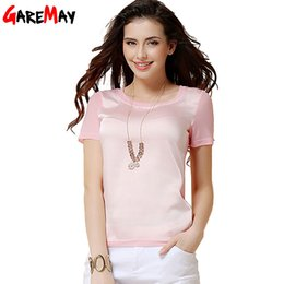 Wholesale silk t shirts for women - Wholesale-t shirt women 2016 chiffon silk short sleeve o-neck solid 12 color brand for woman femal tops and T-shirts Y050