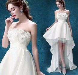 Wholesale Cheap After Dresses - New Arrival Hot Sale Fashion Luxury Princess Lace Wipes Bosom Flowers Diamond Cheap Vintage Short After Long Trailing Bridal Wedding Dress