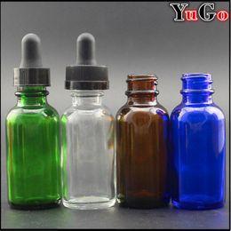 Wholesale Dropper Bottle Green Caps - GR-1#-30ml 1oz Glass Europe Round Glossy Clear, Blue, Amber, Green E-Liquid Bottle; Child Proof Resistant Cap; Slender Dropper Pips Pipette