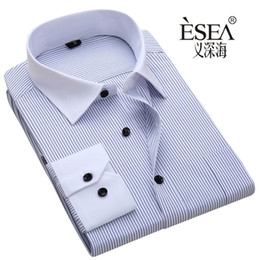 Wholesale 6xl Mens Dress Shirt - Wholesale- Hot sales High quality shirt male long-sleeve mens shirt commercial male male hot sales Blue black stripes s~6xl shirt cheap