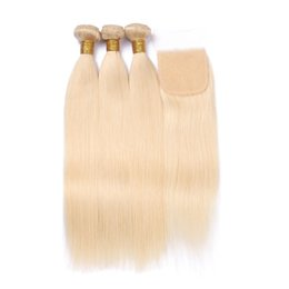 Wholesale Hair Color 613 - 9A 613 Blonde Bundles With Closure 3 Bundles Straight Hair With Closure Free Middle Three Part Brazilian Virgin Hair With Closures 3 Pcs