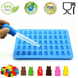 Wholesale Moulding Mold - 50 Cavity Silicone Gummy Bear Chocolate Mold Candy Maker Ice Tray Jelly Moulds