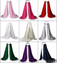 Wholesale Long Fur Trimmed Wedding Cape - 2017 Winter Autumn New Victorian Style Bridal Capes Navy Blue IVORY Red Satin Faux Fur Trim Wedding Cloaks CPA916